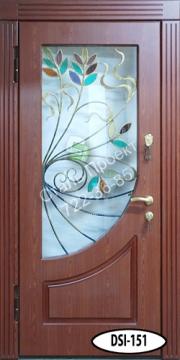 двери металлические с отделкой мдф с ковкой со стеклопакетом